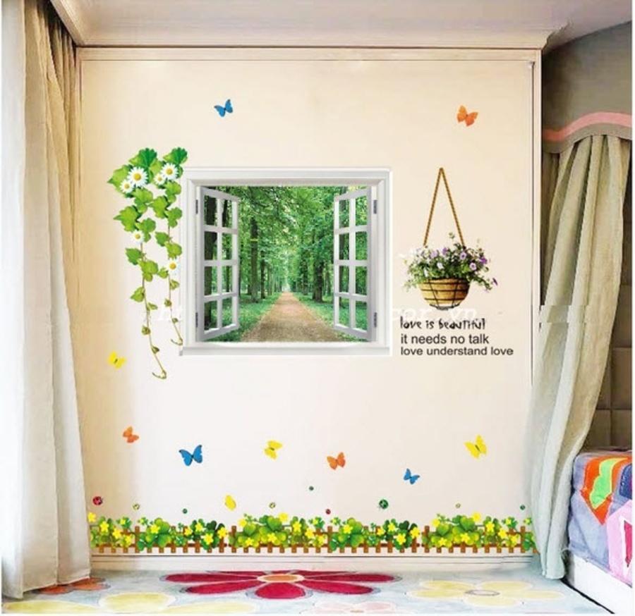 Decal dán tường Combo Cửa sổ 1   Chân tường cỏ ba lá hoa vàng