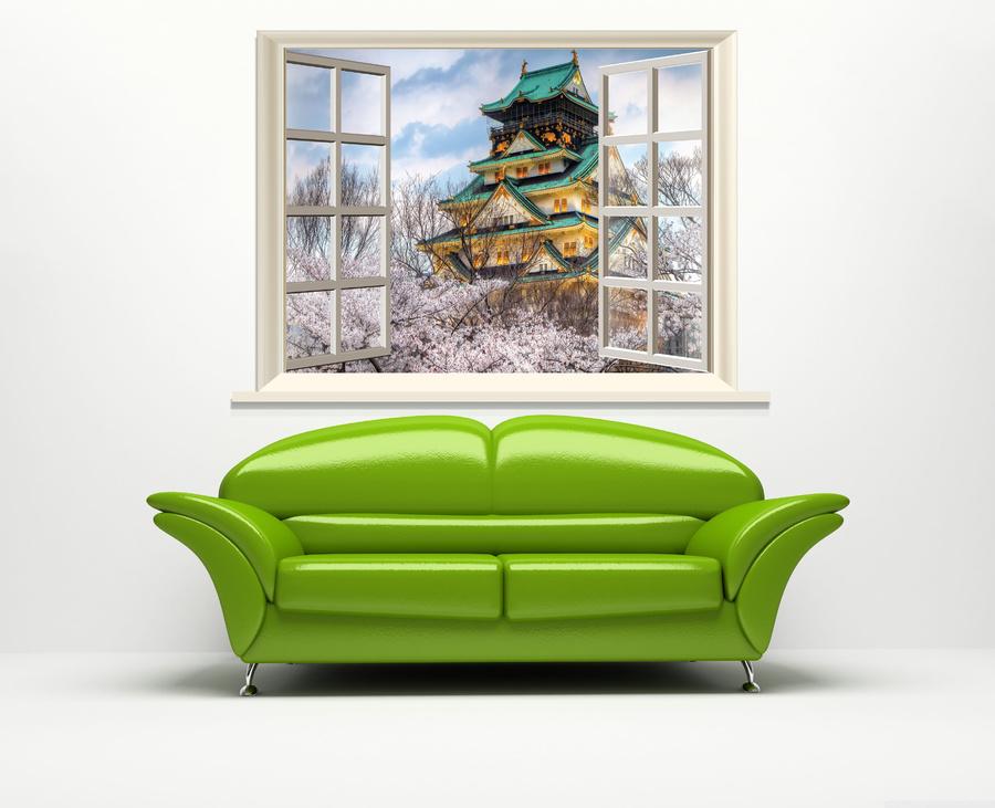 Tranh dán tường cửa sổ lâu đài Osaka