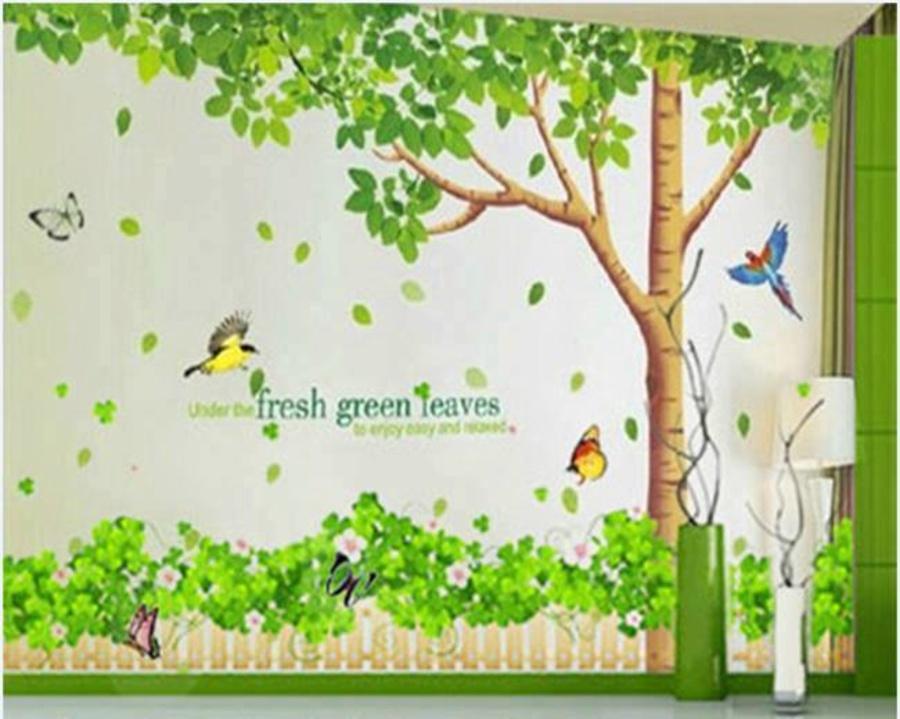 Decal dán tường Combo Cây bóng mát 1  Chân tường xanh lá