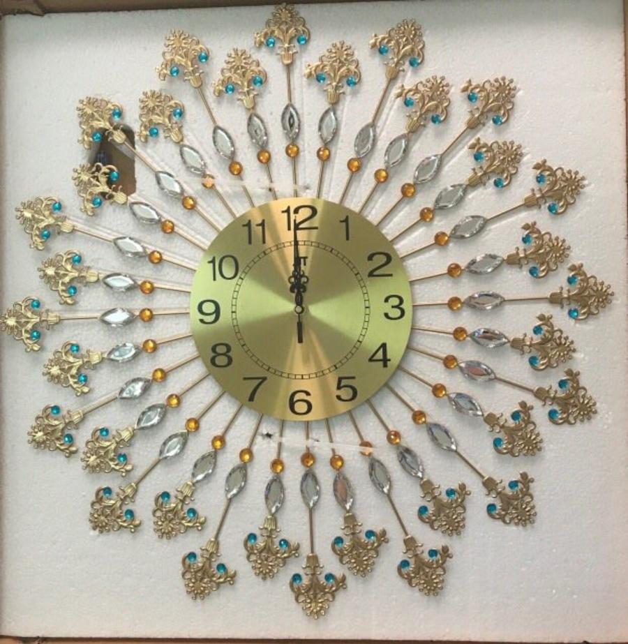 Đồng hồ treo tường đính đá 15