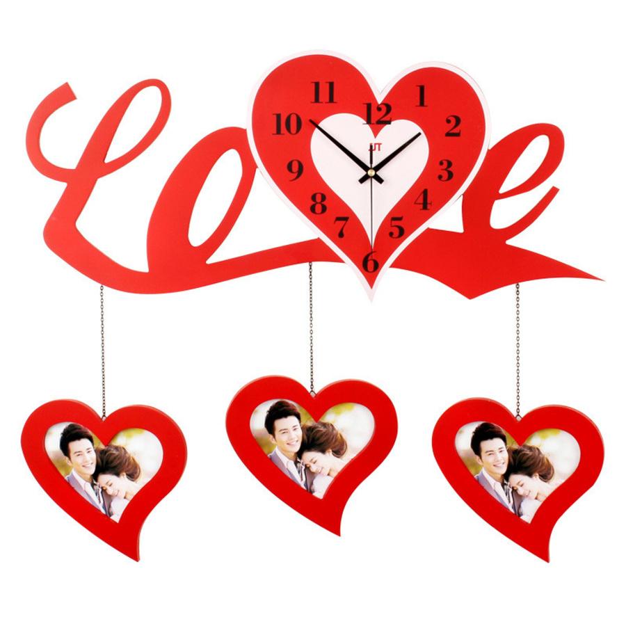 Bộ khung ảnh đồng hồ chữ love