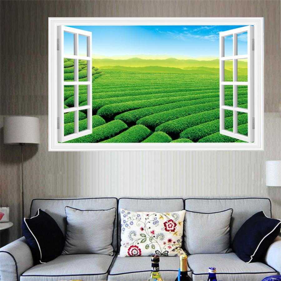 Tranh cửa sổ cánh đồng xanh