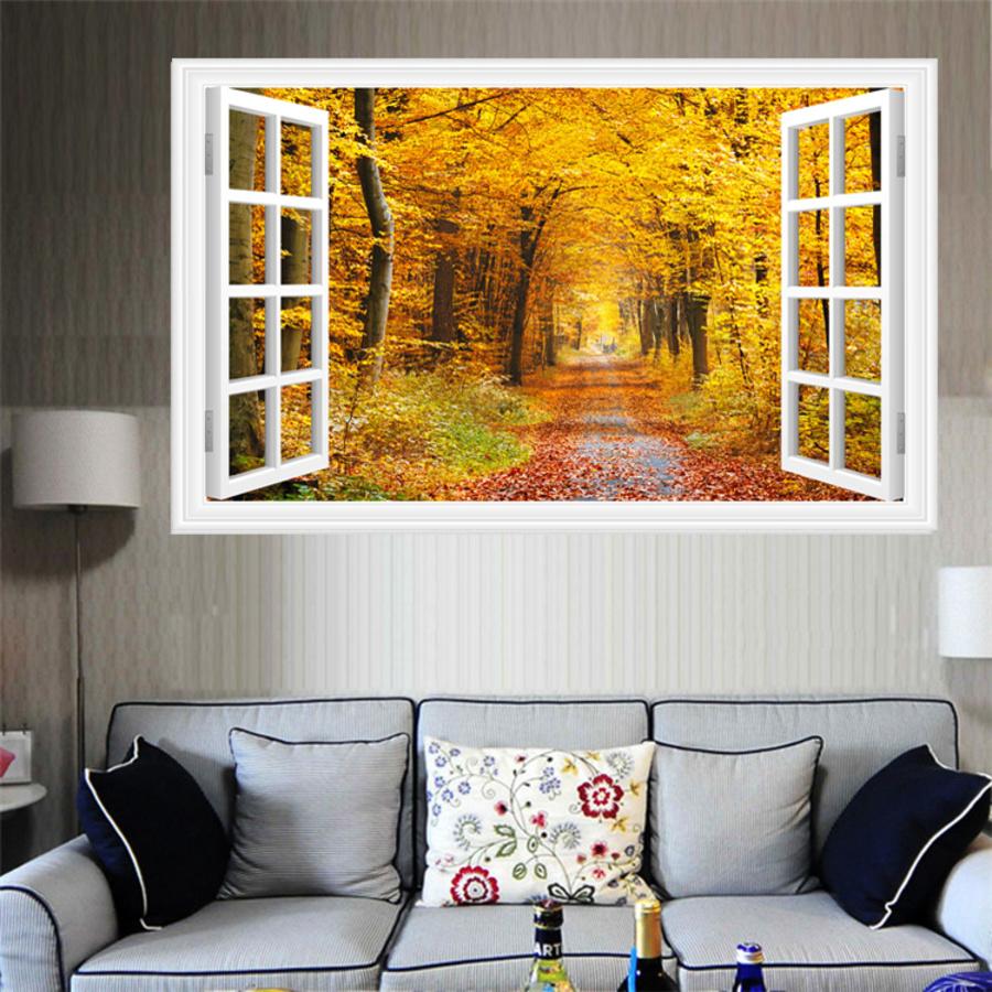 Tranh dán tường cửa sổ con đường mùa thu