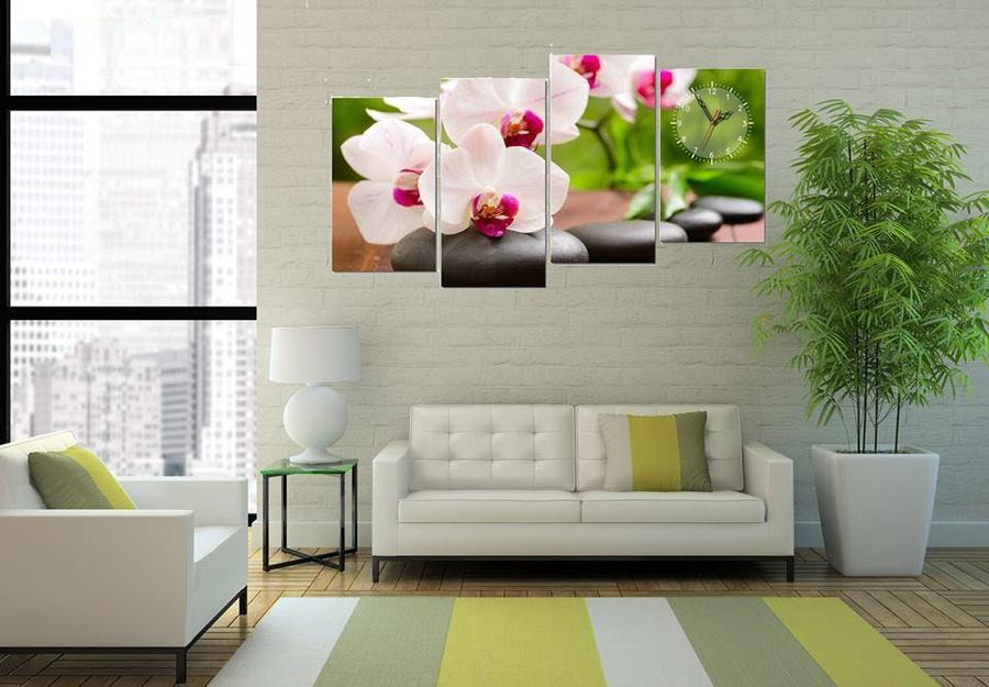 Tranh đồng hồ hoa lan trắng size 4 tấm