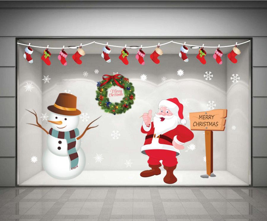 Decal dán tường Combo ông già Noel và người tuyết