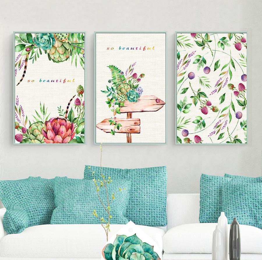Bộ tranh treo tường hoa và lá