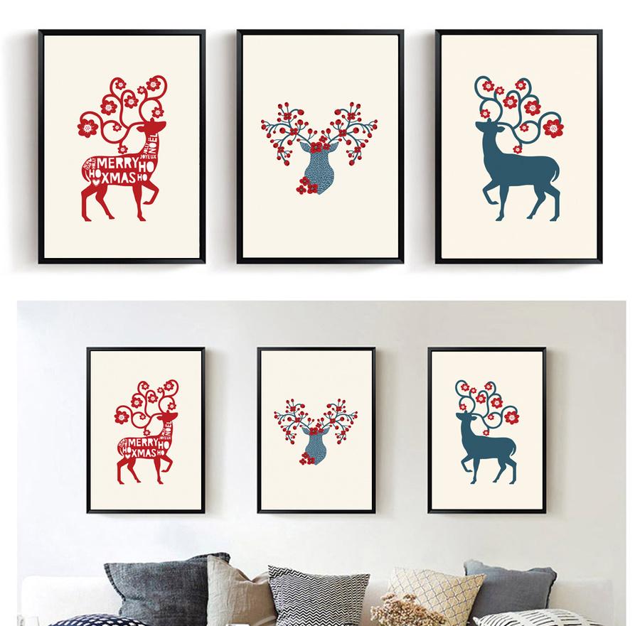 Bộ 3 tranh treo tường tuần lộc đón giáng sinh