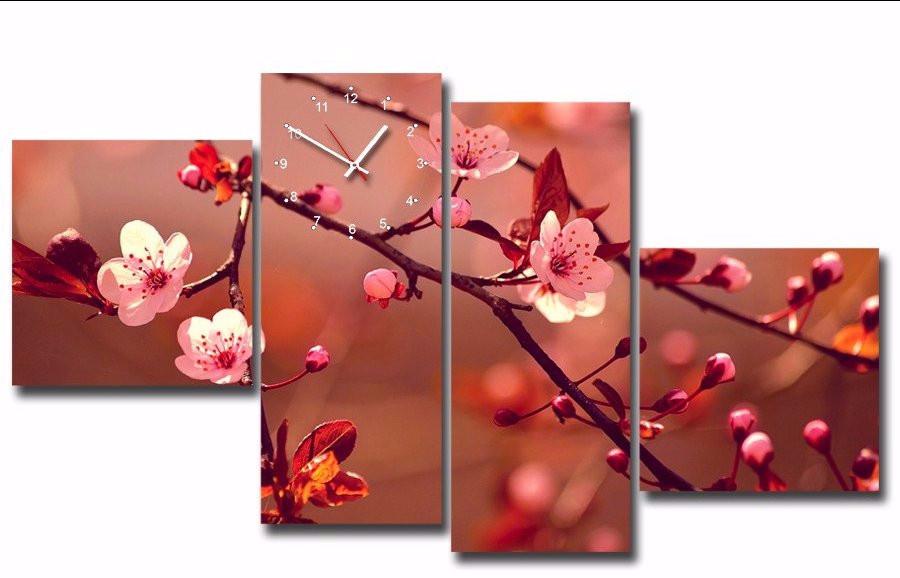 Tranh đồng hồ hoa đào cách điệu 3