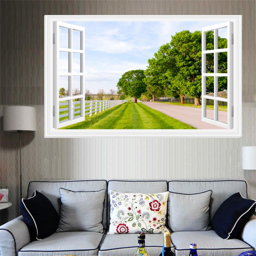 Tranh dán tường cửa sổ hàng rào cây xanh