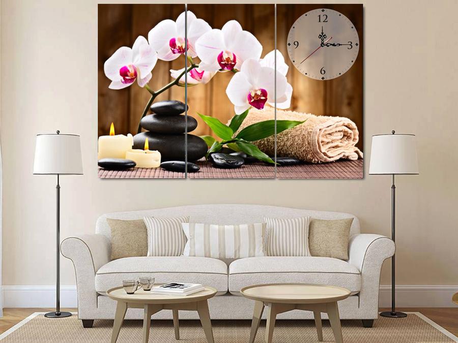 Tranh đồng hồ hoa lan trắng size 3 tấm