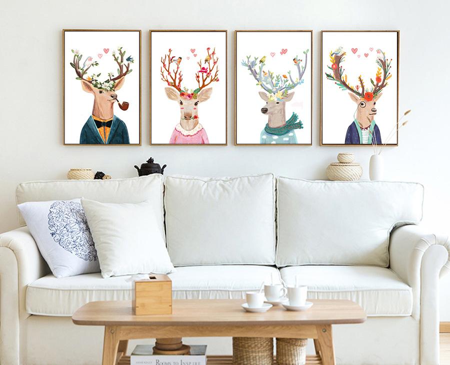 Bộ tranh treo tường nghệ thuật hươu may mắn