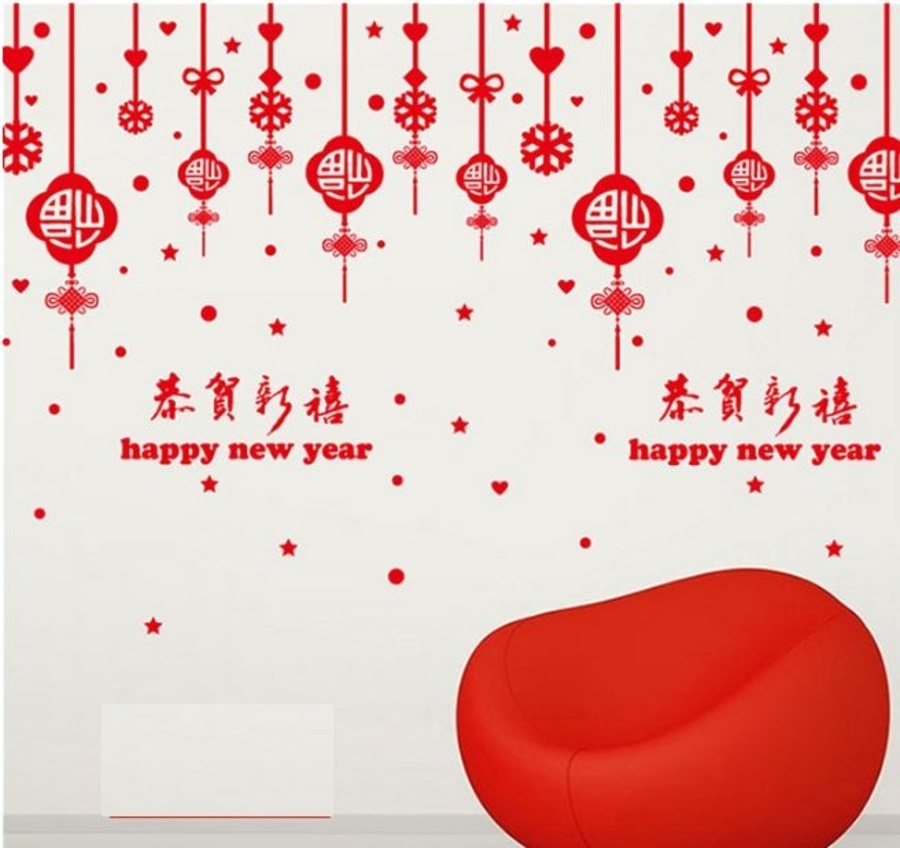 Decal tết happy new year và lộc treo may mắn