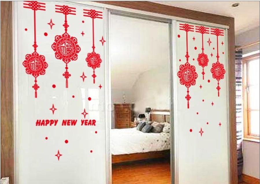 Decal tết happy new year và lộc treo may mắn 2