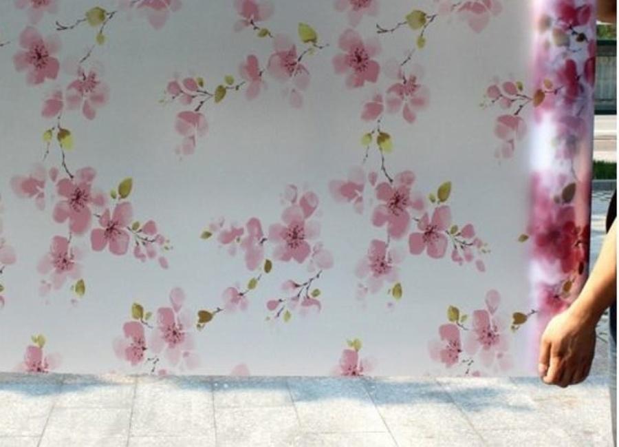 Decal cuộn kính mờ hoa đào đỏ khổ 0.9m