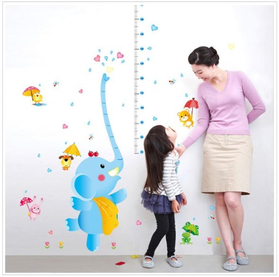 Decal dán tường thước đo voi xanh tinh nghịch