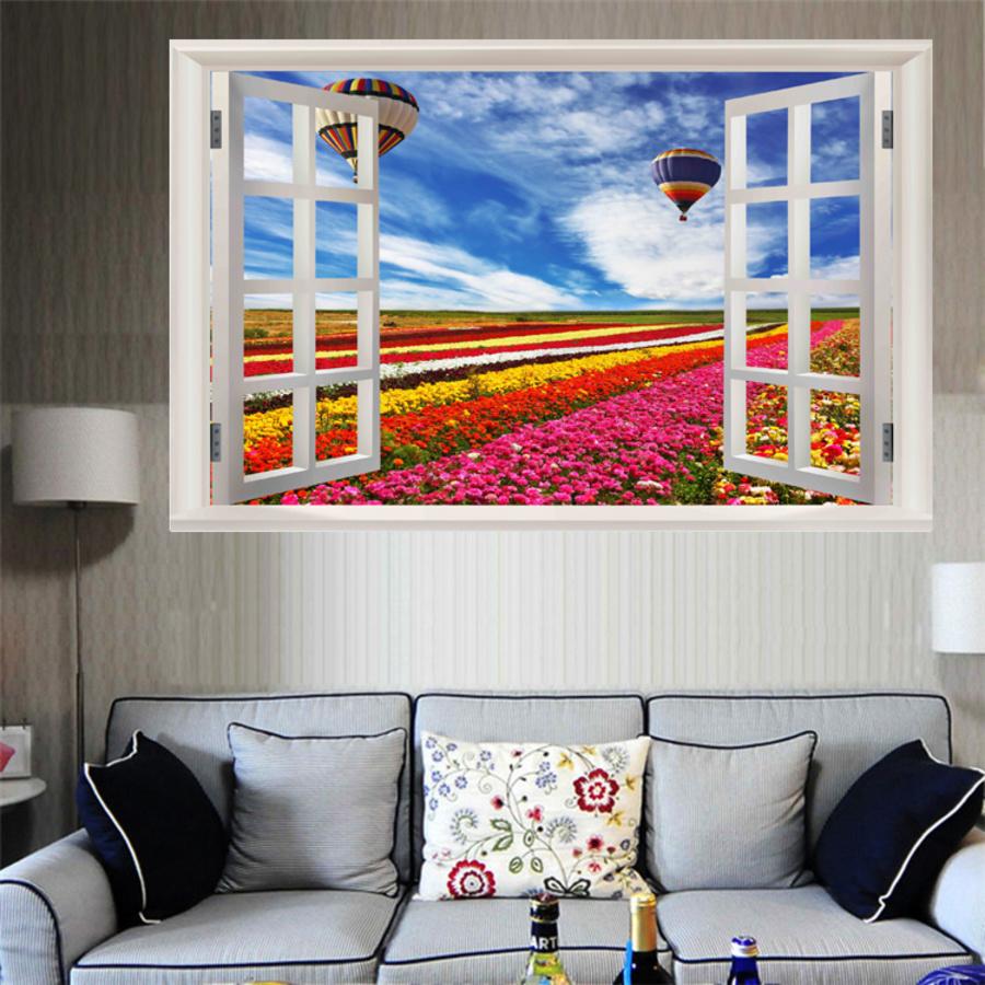 Tranh dán tường cửa sổ con đường hoa và đôi khinh khí cầu