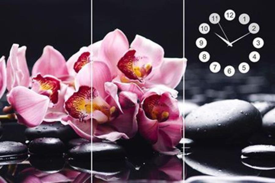 Tranh đồng hồ hoa lan tím 2