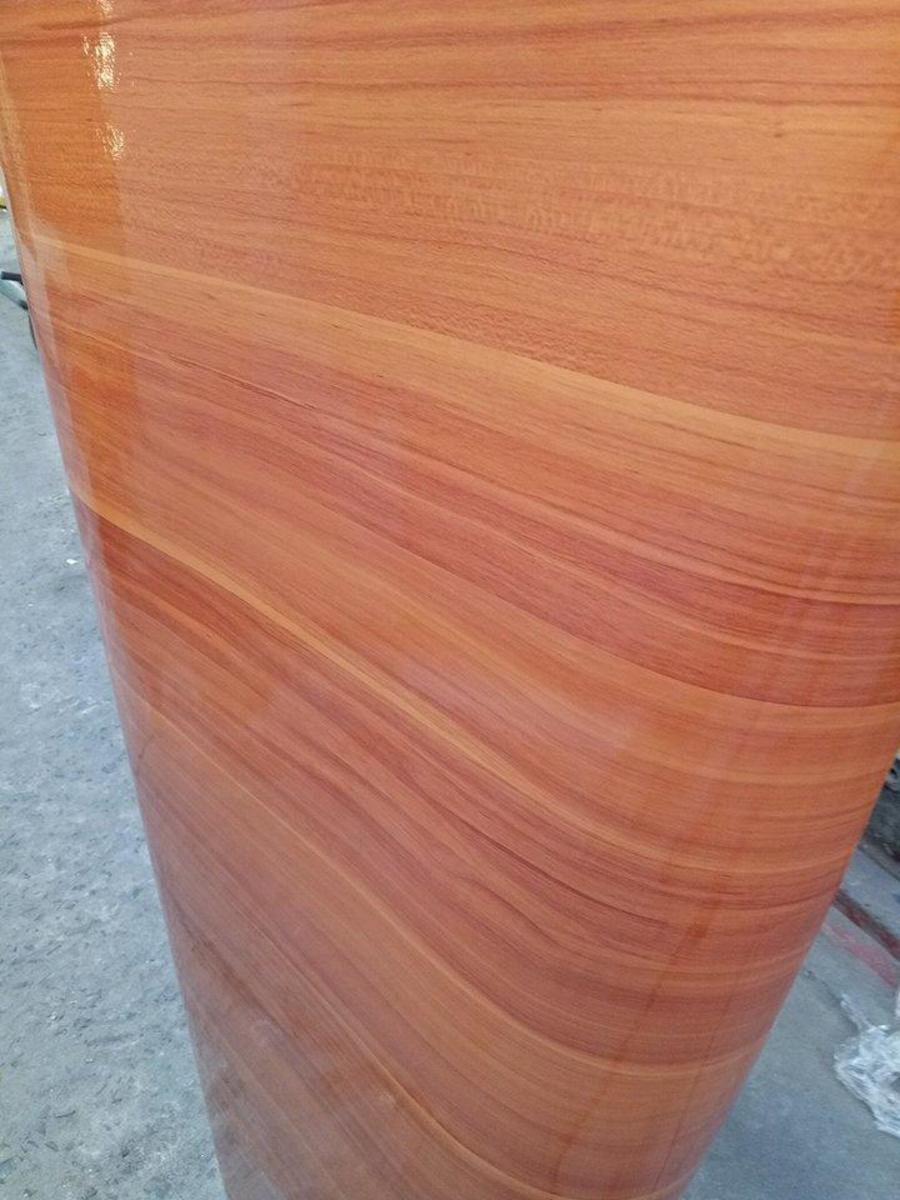 Giấy decal cuộn giả gỗ sọc ngang vàng cam khổ 1m2