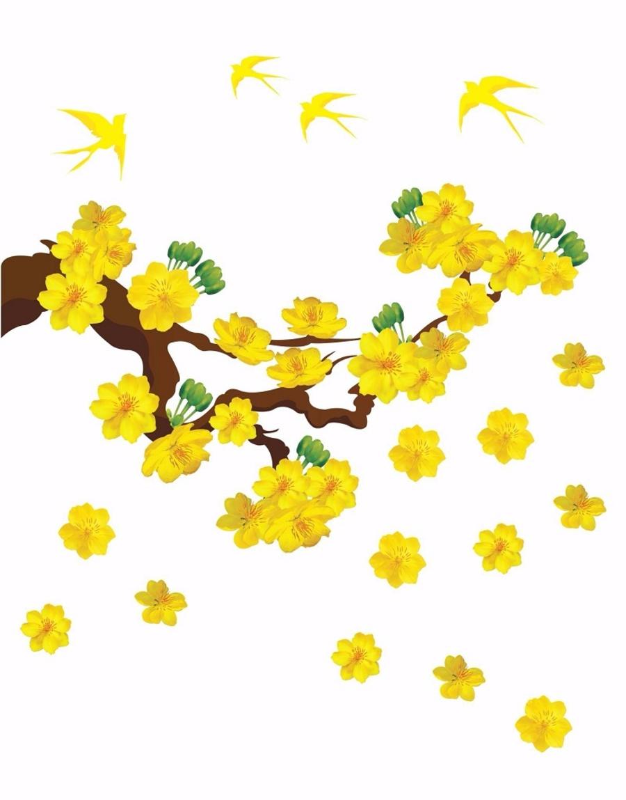 Decal mai vàng và chim én đón xuân 3