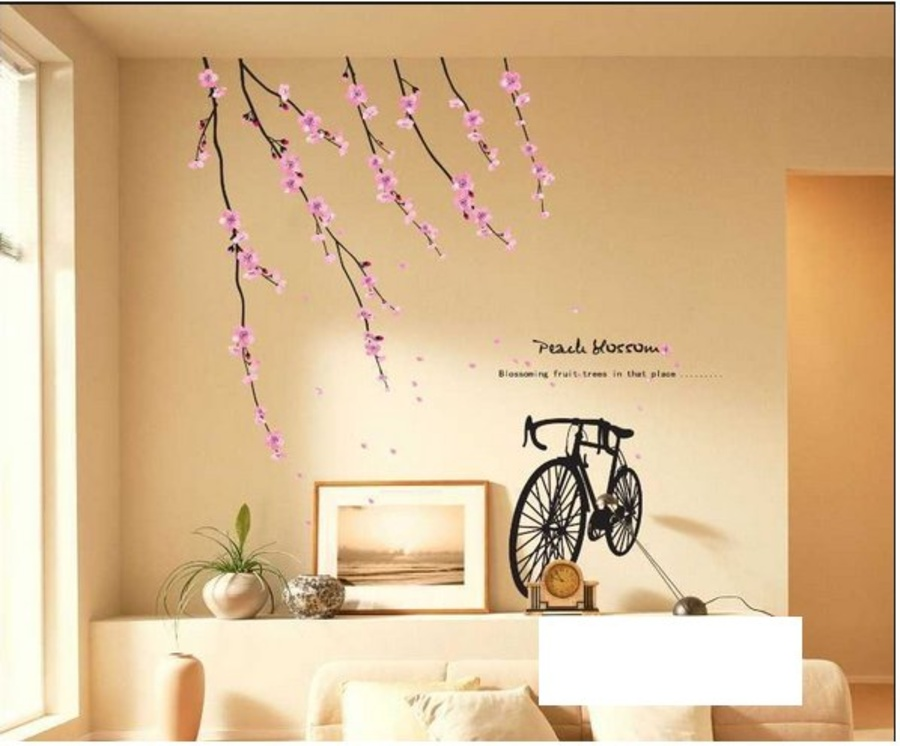 Decal dán tường cành đào và xe đạp