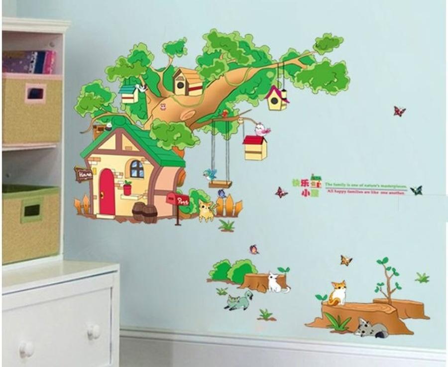 Decal dán tường nhà cây ngộ nghĩnh 4
