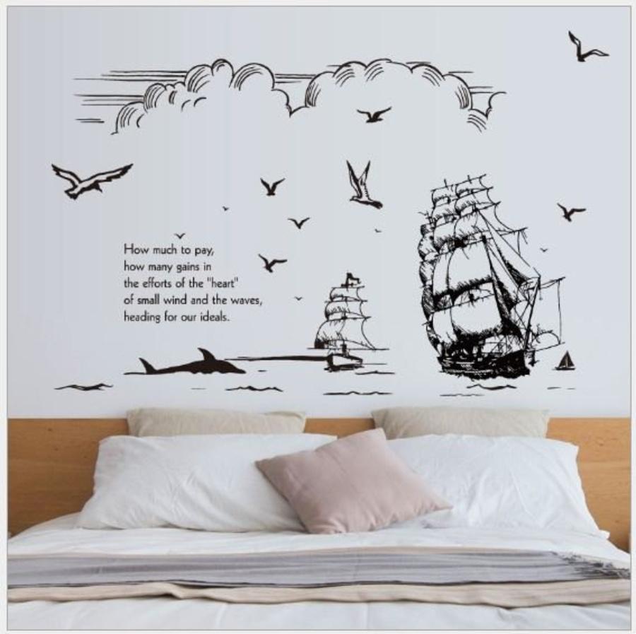 Decal dán tường thuyền buồm 2
