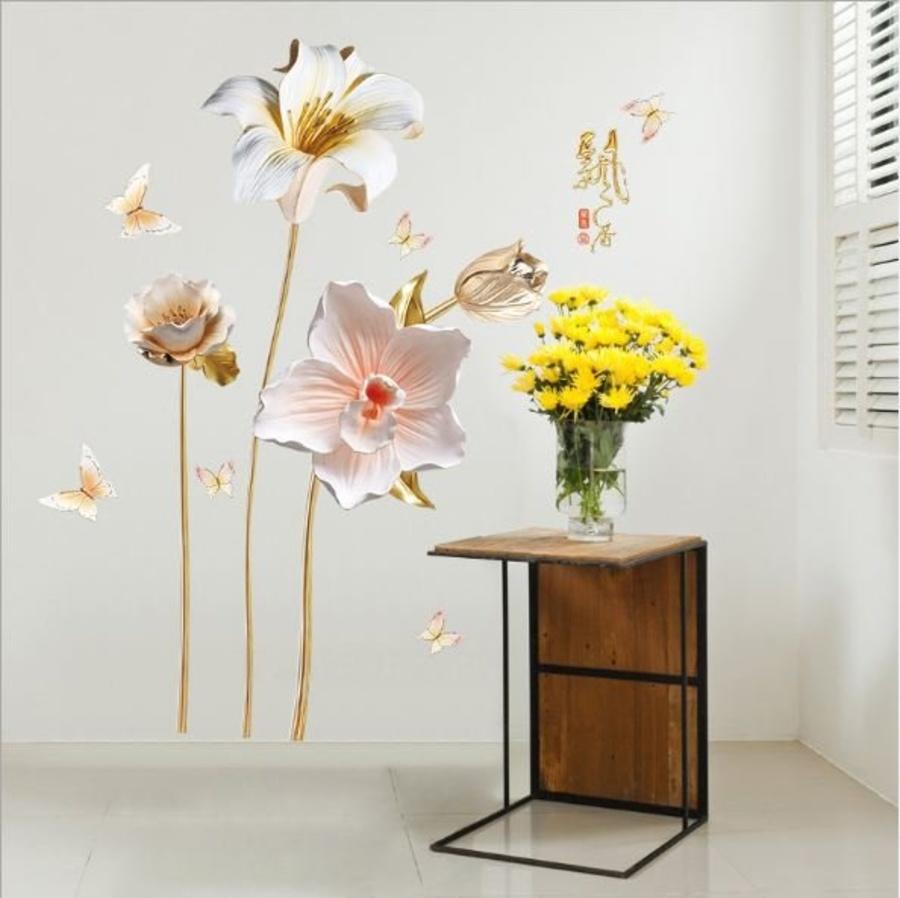 Decal dán tường hoa ly trắng 2