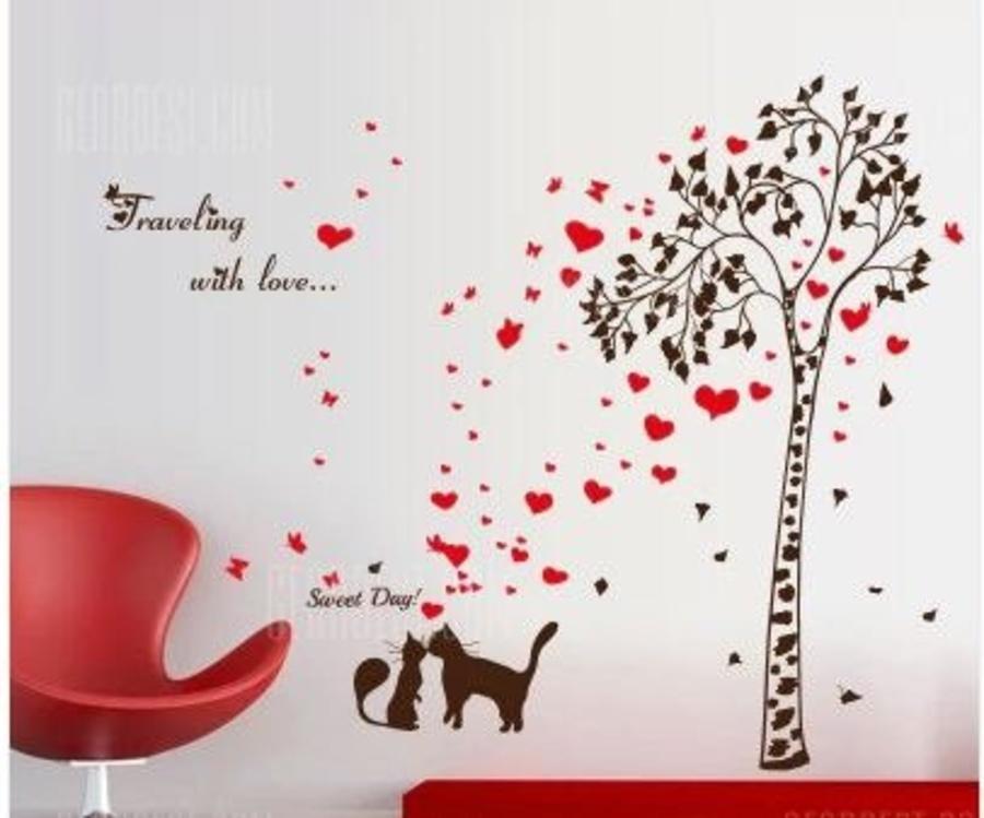 Decal dán tường đôi mèo và cây 2