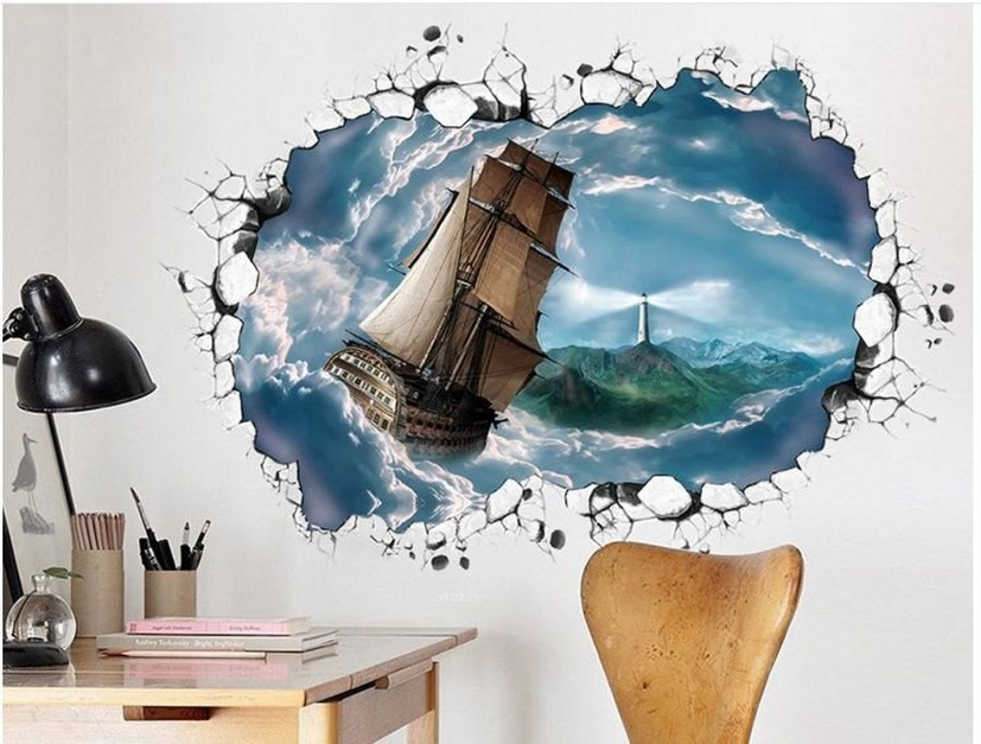 Decal dán tường thuyền buồm 3D mẫu 3