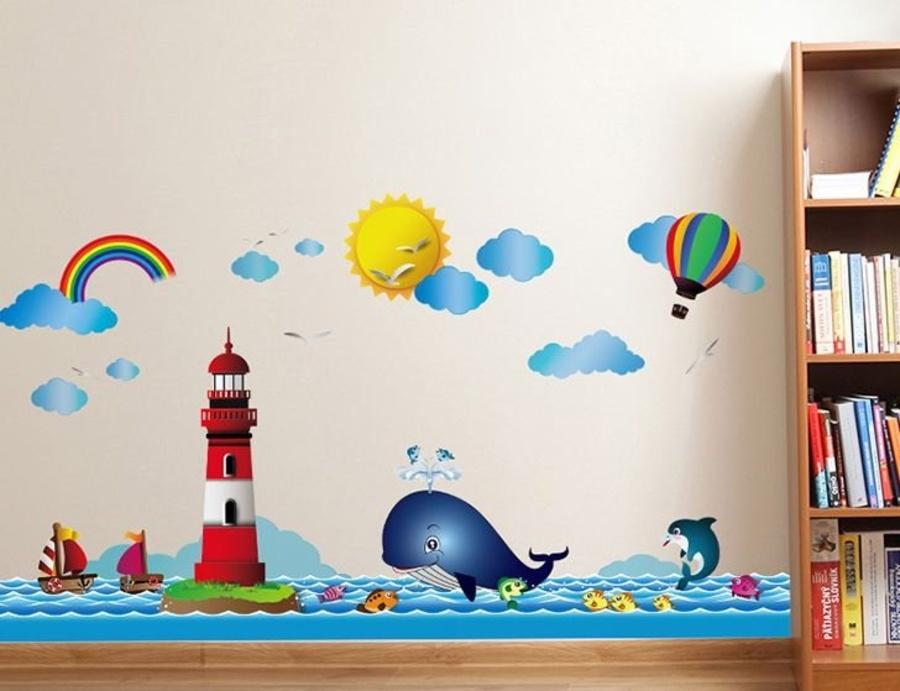 Decal dán tường cá heo xanh nhỏ 2