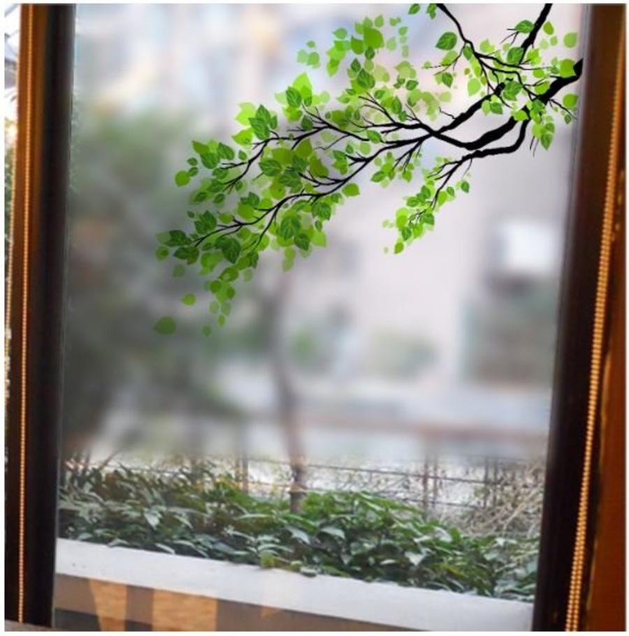 Decal dán kính cành cây xanh 3