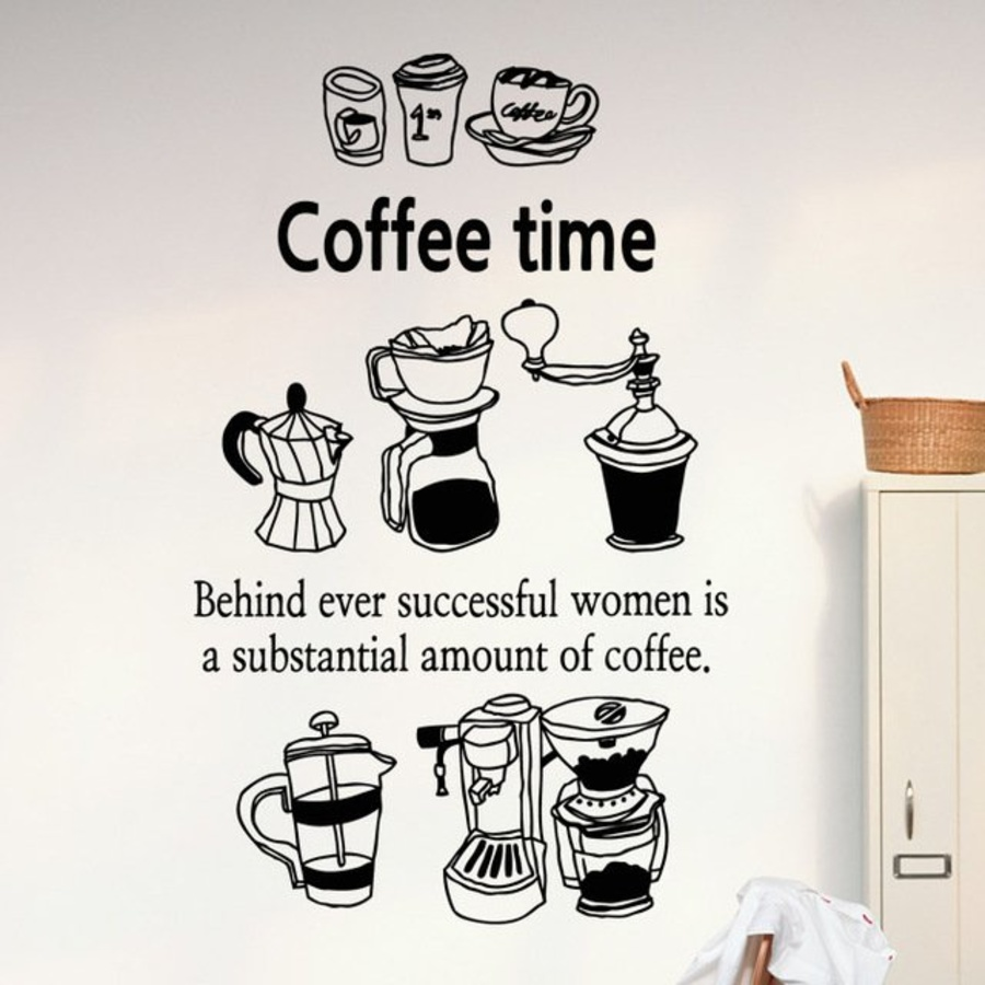 Decal dán tường Coffee time