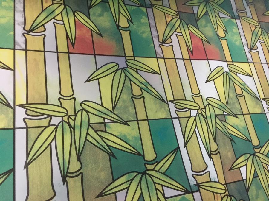 Decal cuộn kính mờ họa tiết lá trúc 2 khổ 0.9m