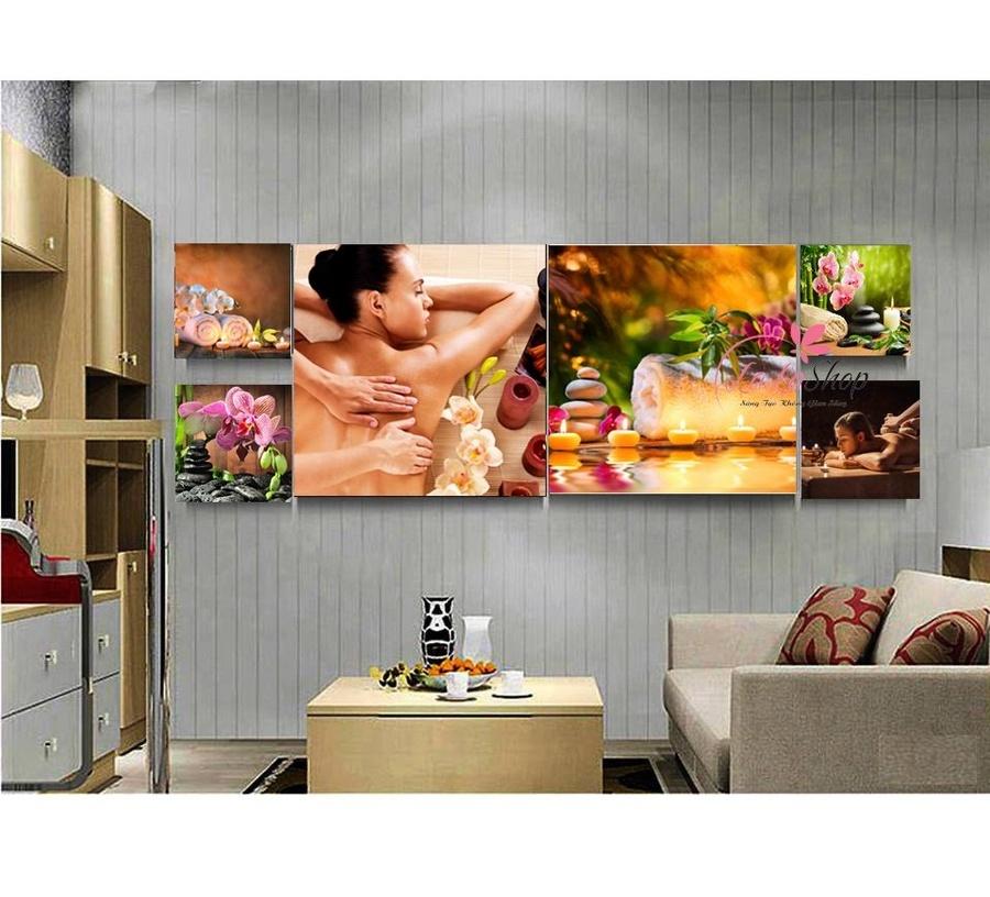 Tranh treo tường spa hoa phong lan tím và nến vàng