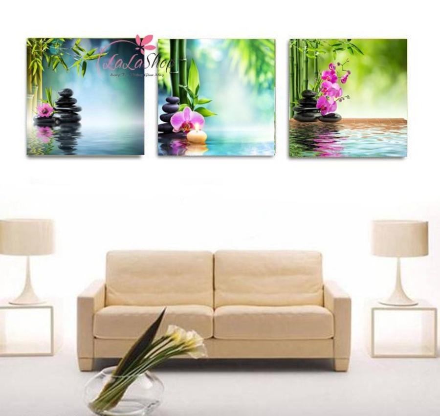 Tranh treo tường spa hoa lan tím 2