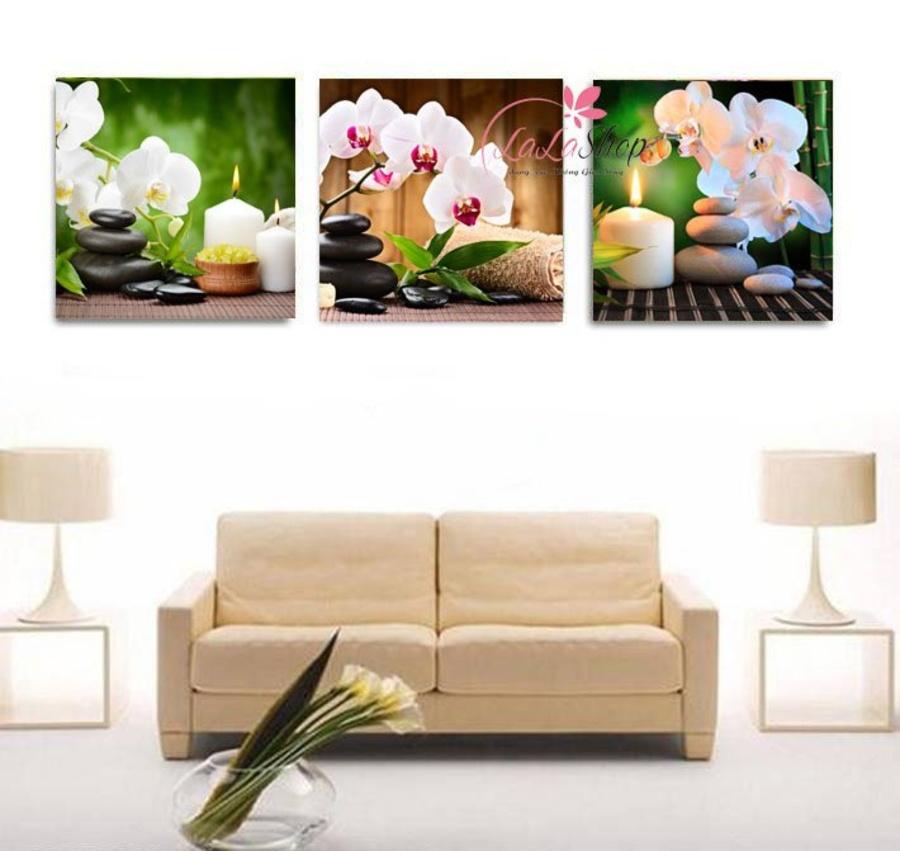 Tranh treo tường spa hoa lan trắng