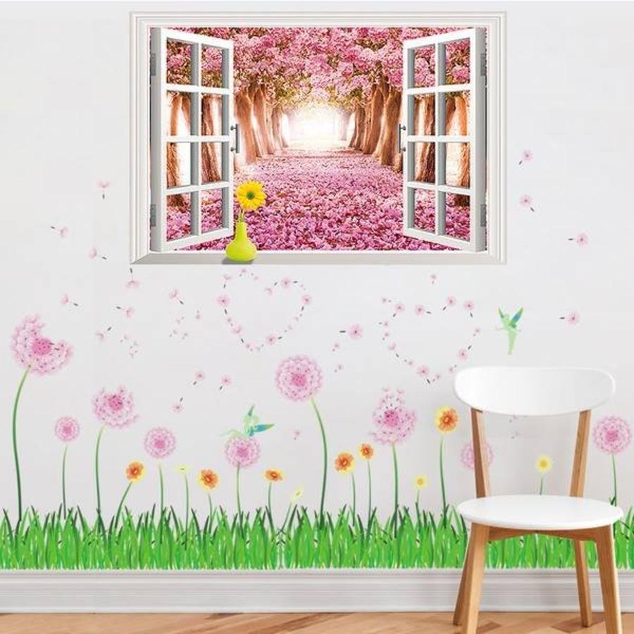 Decal dán tường Combo Cửa số con đường hoa đào 1 Chân tường bồ công anh hồng