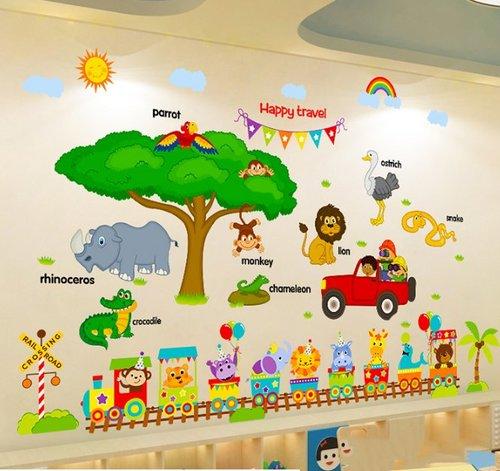 Decal dán tường Combo vườn thú châu phi   đoàn tàu vui vẻ