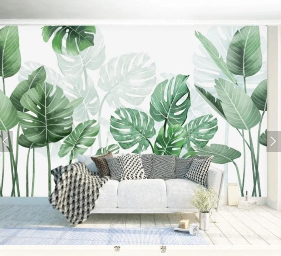 Tranh dán tường lá xanh