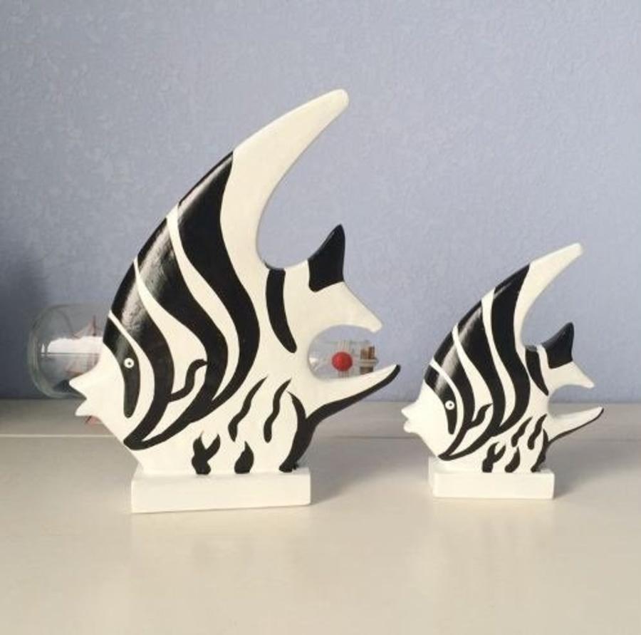 Đôi cá trắng đen trang trí 2
