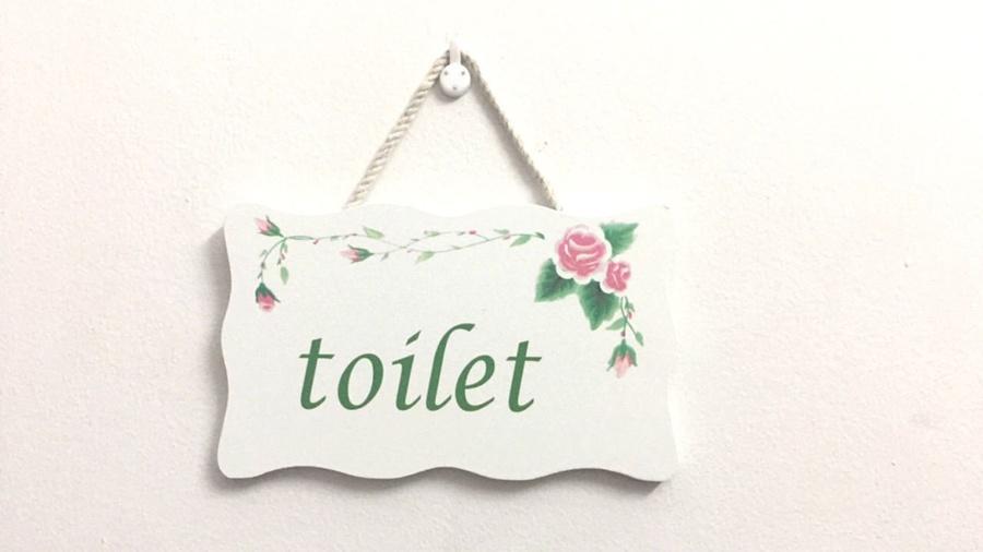 Bảng treo Toilet hoa hồng 4