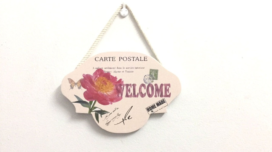 Bảng treo welcome hoa hồng 5