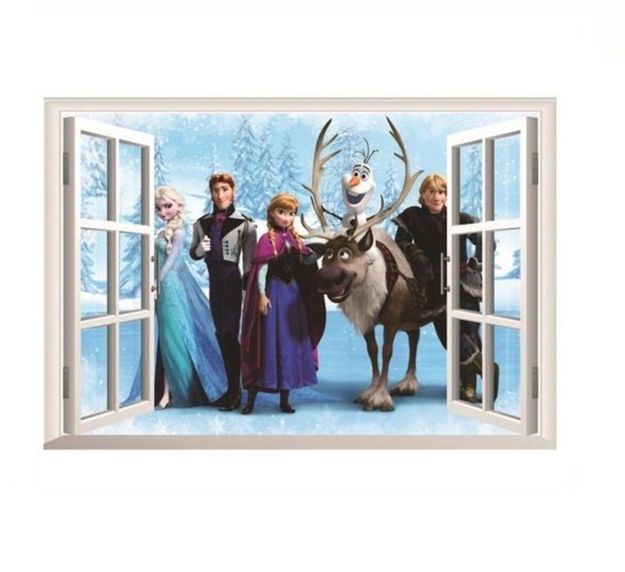 Decal dán tường cửa sổ nữ hoàng tuyết