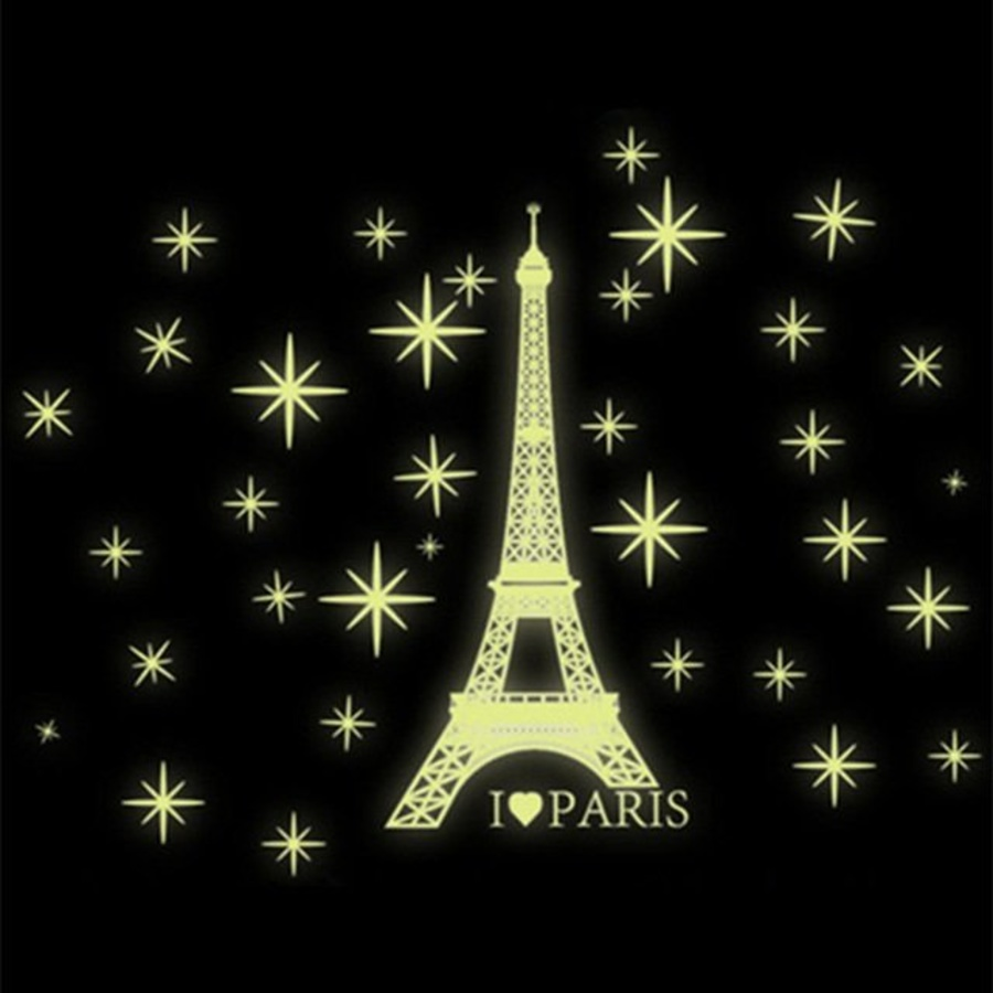 Decal dán tường Paris dạ quang nhỏ