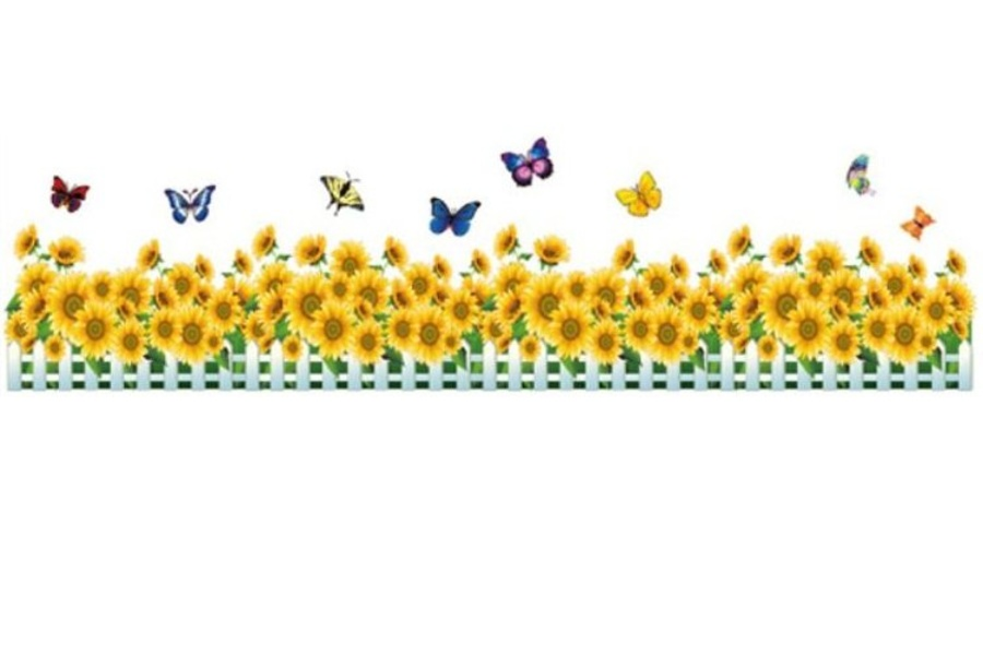Decal dán chân tường hoa hướng dương vàng 2