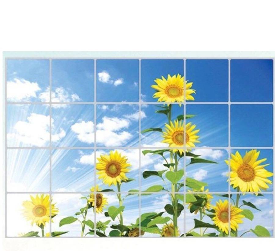 Decal dán tường dán bếp vườn hoa hướng dương size 60x90cm