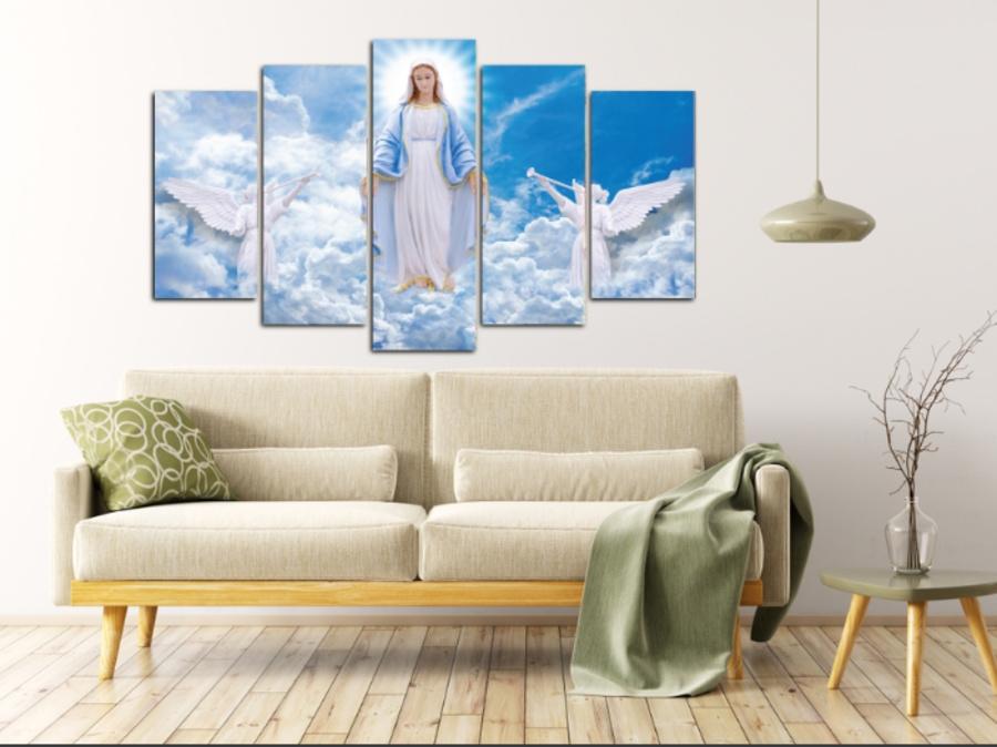 Tranh treo tường Đức Mẹ Maria cách điệu size 5 tấm