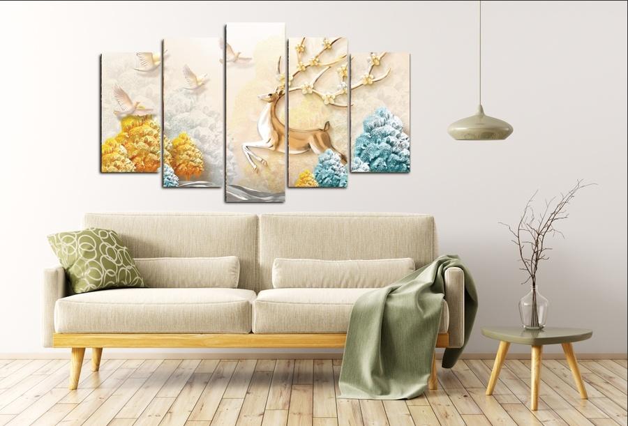 Tranh treo tường 3d cách điệu hươu nghệ thuật