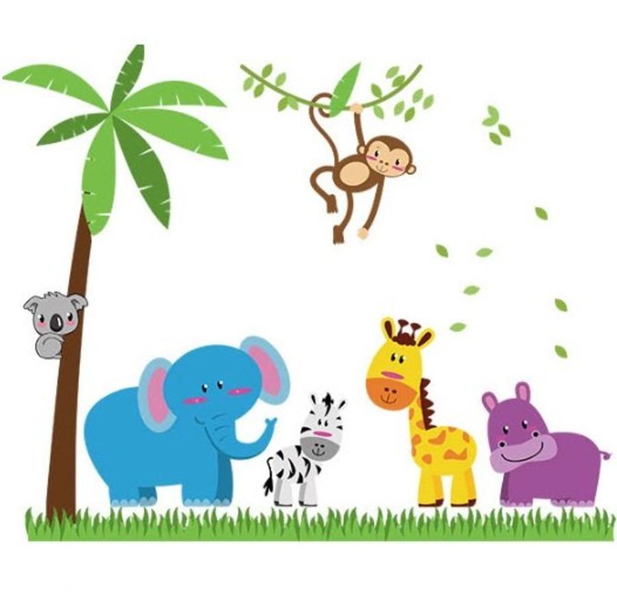 Decal vườn thú voi xanh và các bạn