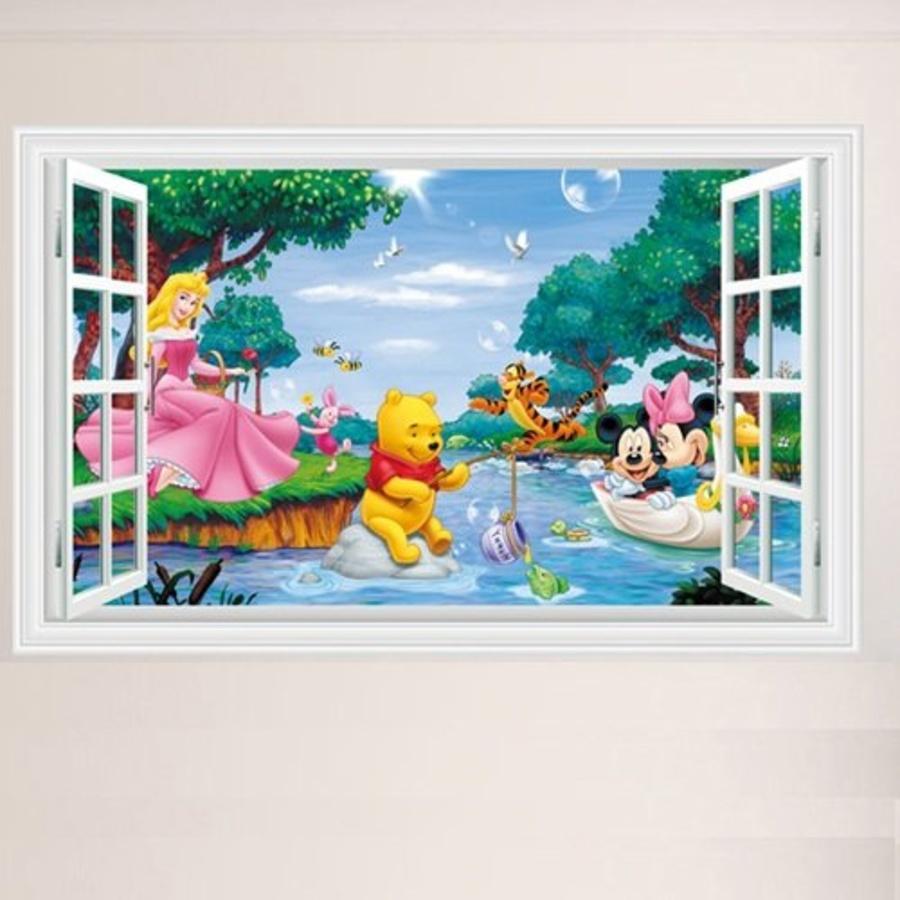 Decal dán tường cửa sổ công chúa và gấu Pooh